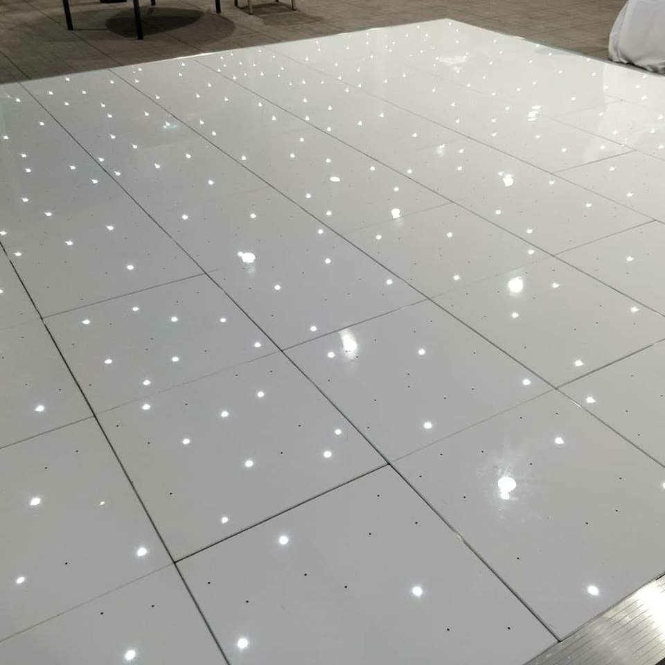 White LED dance floor hire.