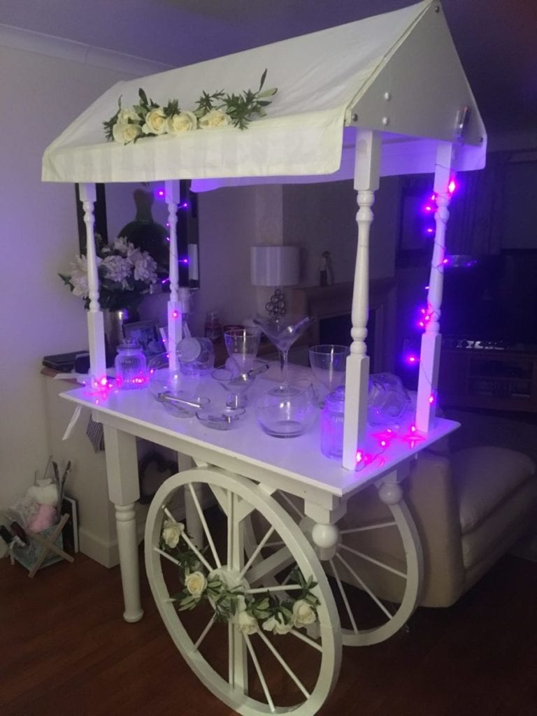 Wedding decor Scotland |Platinum Discos Candy Cart