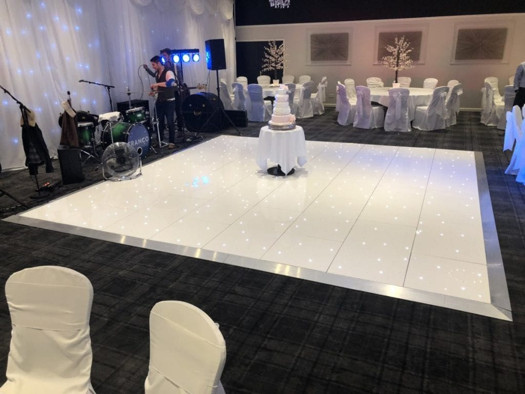 My white LED dance floor takes up to 45 minutes to set up during room turnarounds.