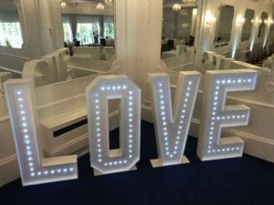 LED dance floor hire Scotland | Giant 4ft tall love letters.