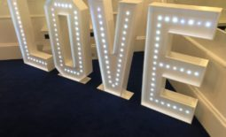 """4ft tall """"LOVE"""" letters."""