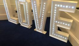 "4ft tall ""LOVE"" letters."
