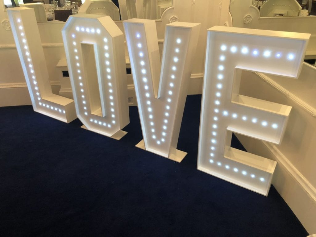 "4ft tall ""LOVE"" letters. Wedding Party Dj"