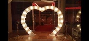 LED dance floor hire Scotland | 7ft tall Love heart arch.