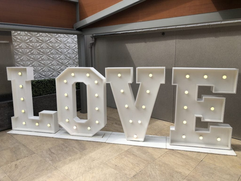 LED dance floor hire Scotland | 5ft tall love letters.