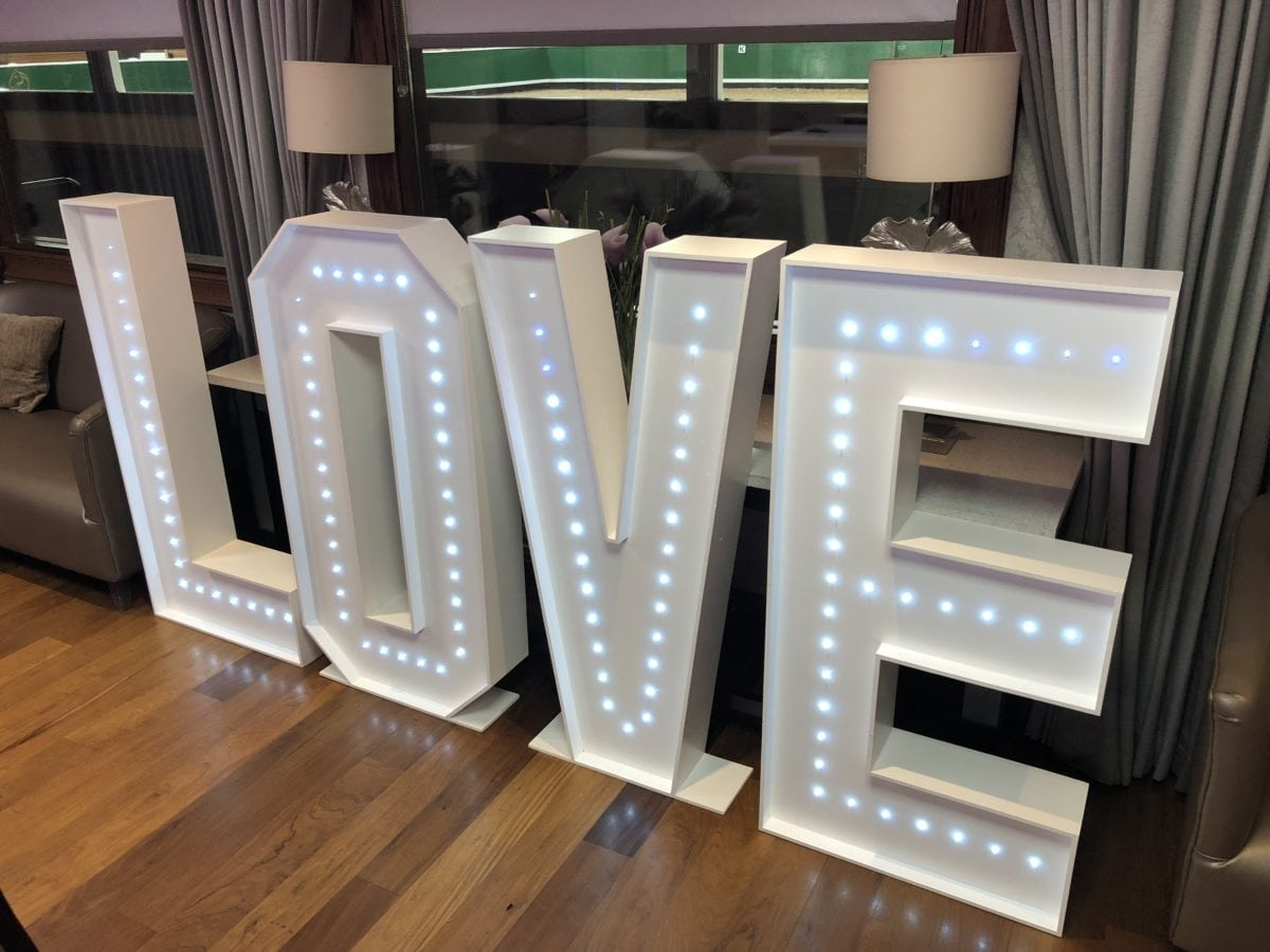 "4ft tall giant letters ""LOVE"" - Led dance floor hire"