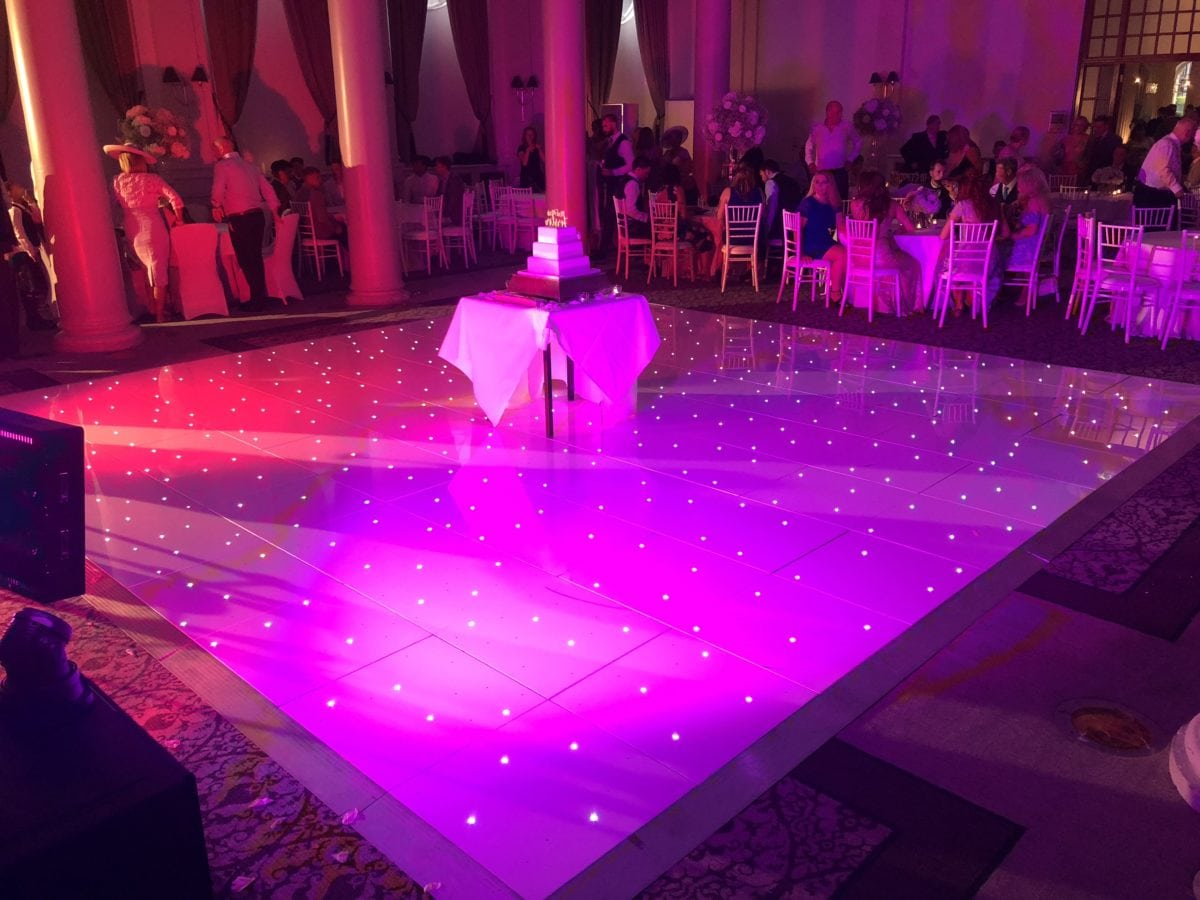 20ft by 20ft white LED dance floor. Wedding Party Dj