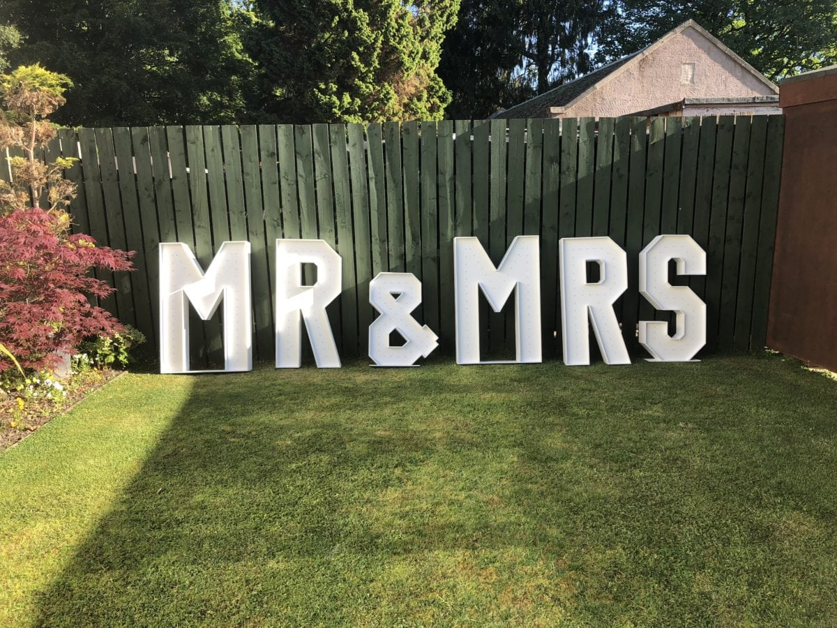 Wedding decor Scotland | Mr & Mrs giant letters.