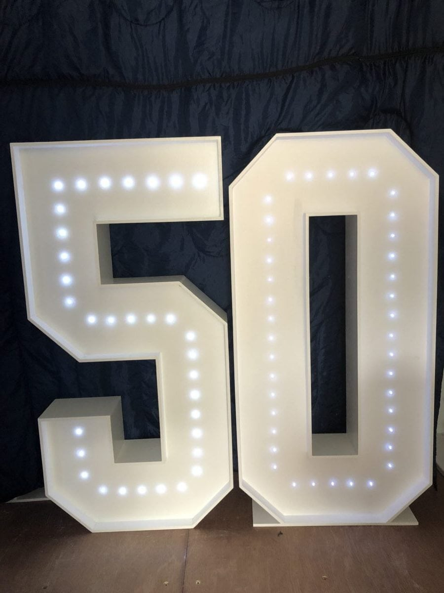 """4ft tall giant letters """"50"""" Giant letter hire"""