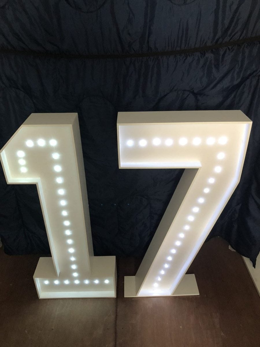 """Giant letters spelling """"17"""" Giant letter hire"""