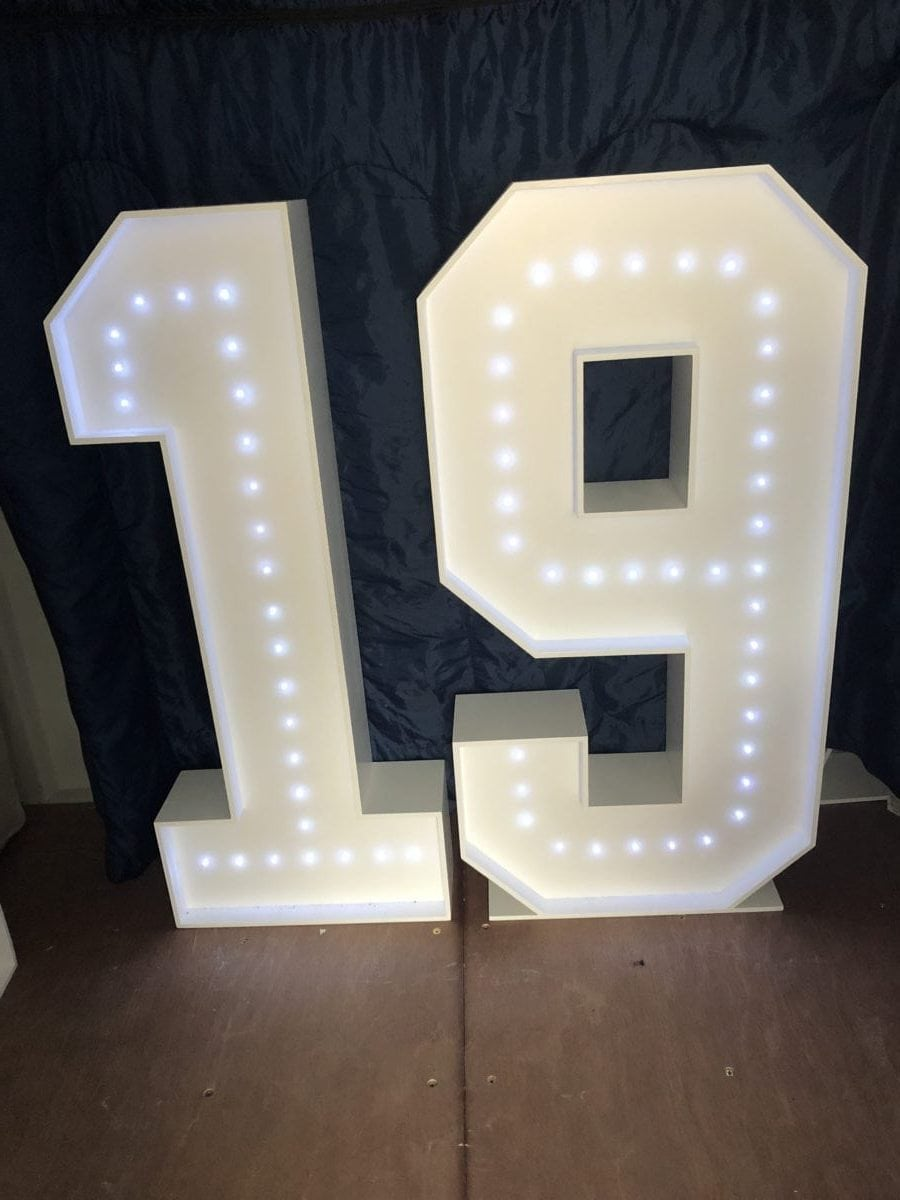 """4ft tall giant letters """"19"""" Giant letter hire"""