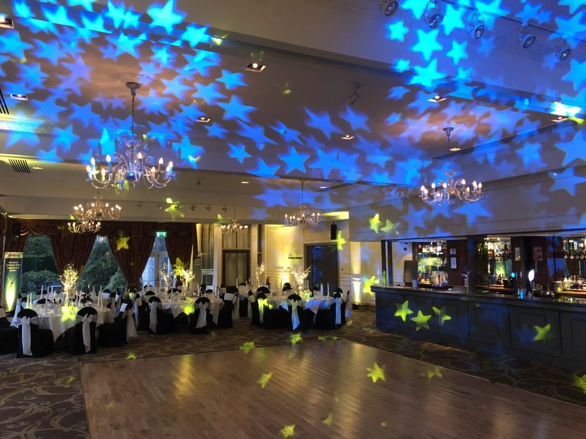 Mood lighting in yellow at Ardoe House Hotel, Aberdeen.