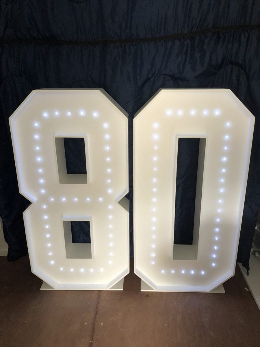 """4ft tall giant letters """"80"""" Giant letter hire"""