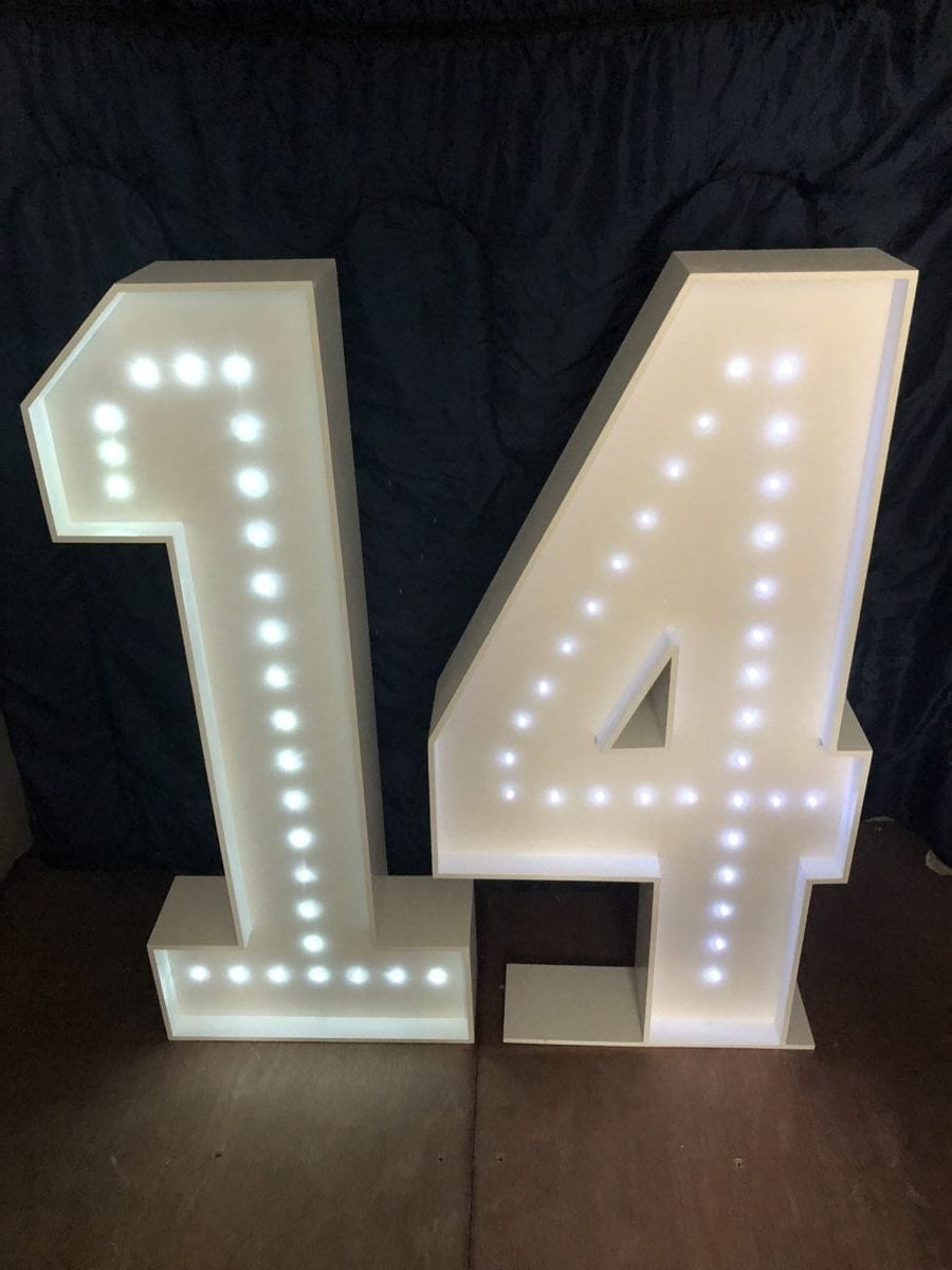 """4ft tall giant letters spelling """"14"""" Giant letter hire"""