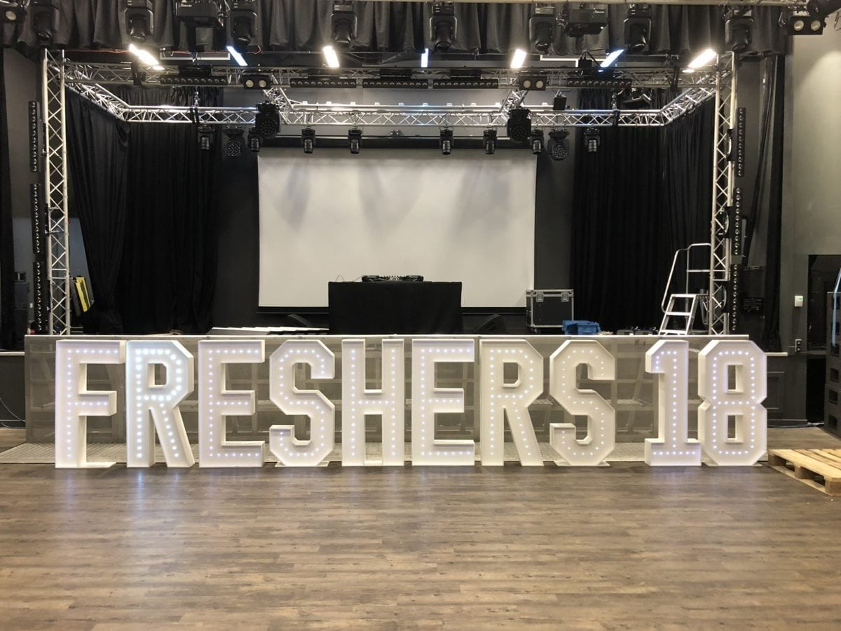 Giant letter hire at St Andrews University. Wedding Party Dj
