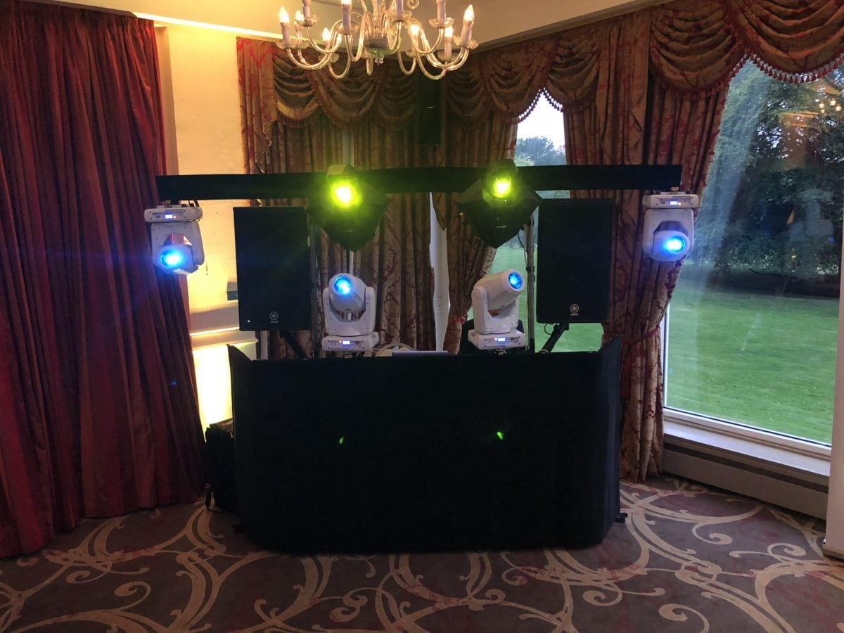 Platinum Discos mobile disco at Ardoe House Hotel, Aberdeen. This is my usual wedding Dj setup.