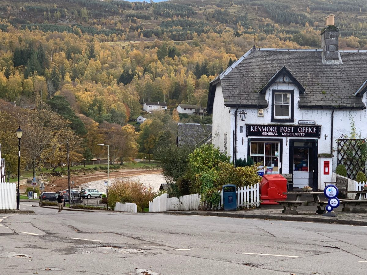 The local shop and post office opposite Kenmore Hotel and the beautiful beach in the distance.