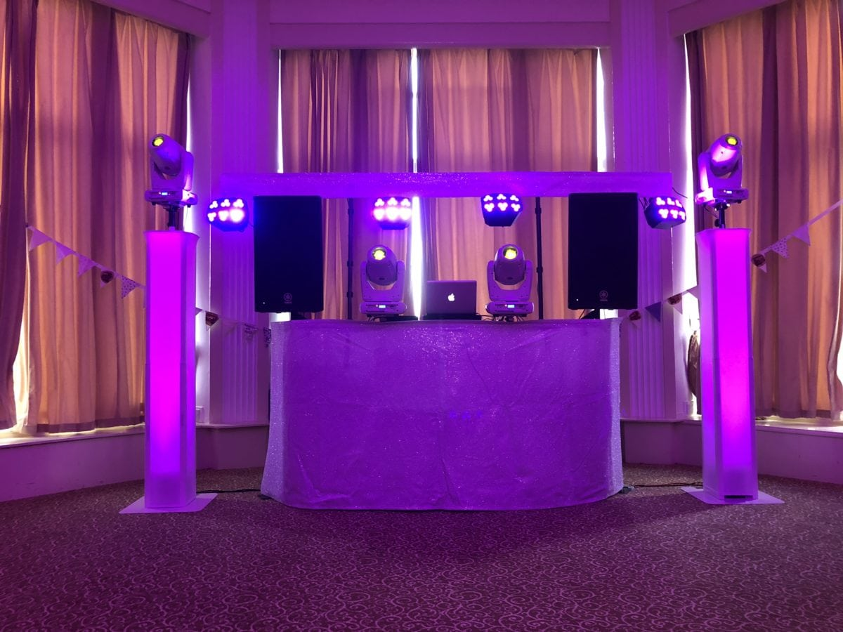 My new all white wedding disco which you could hire along with my dance floor hire at Norton House Hotel, Edinburgh, Scotland.