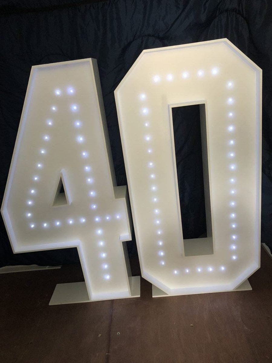 "The number ""40"" in 4ft tall giant letters."
