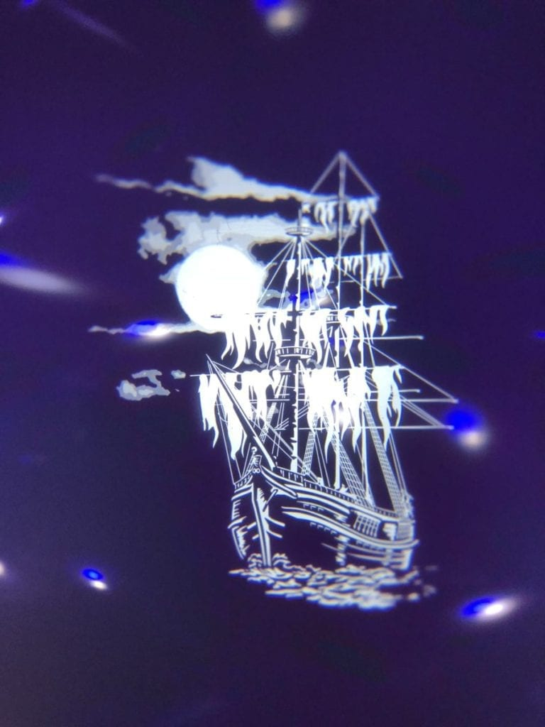 The ghost ship Halloween Gobo looked great at my mobile disco.
