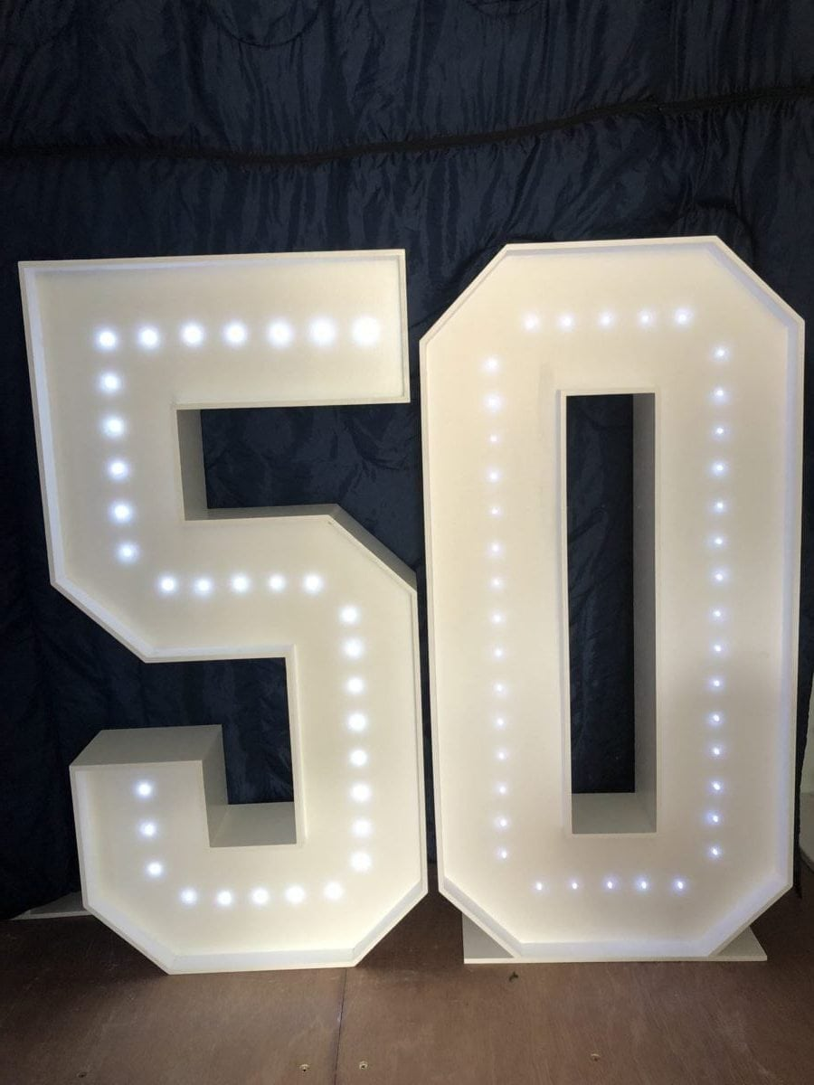 "The number ""50"" in 4ft tall giant letters."