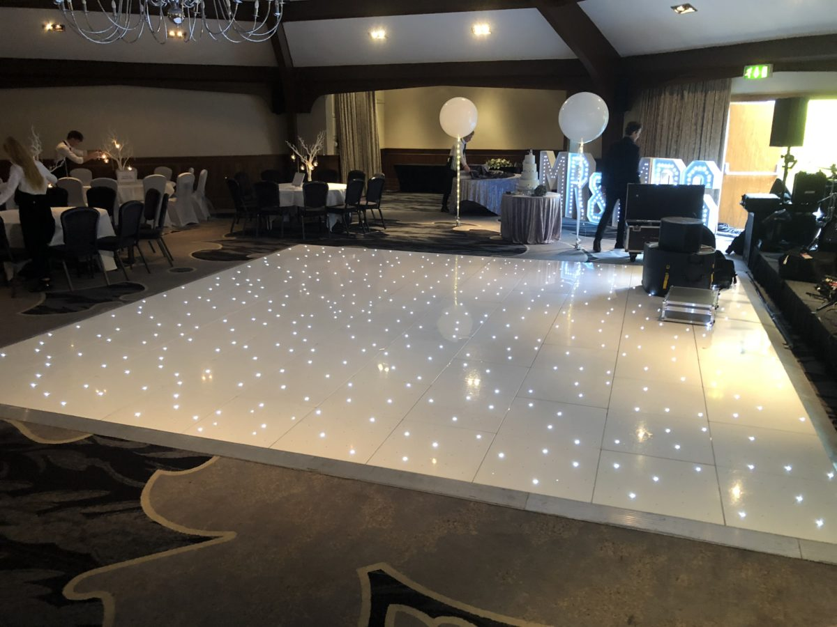 My stunning 20ft by 20ft white LED dance floor at Airth Castle. Dance floor hire.