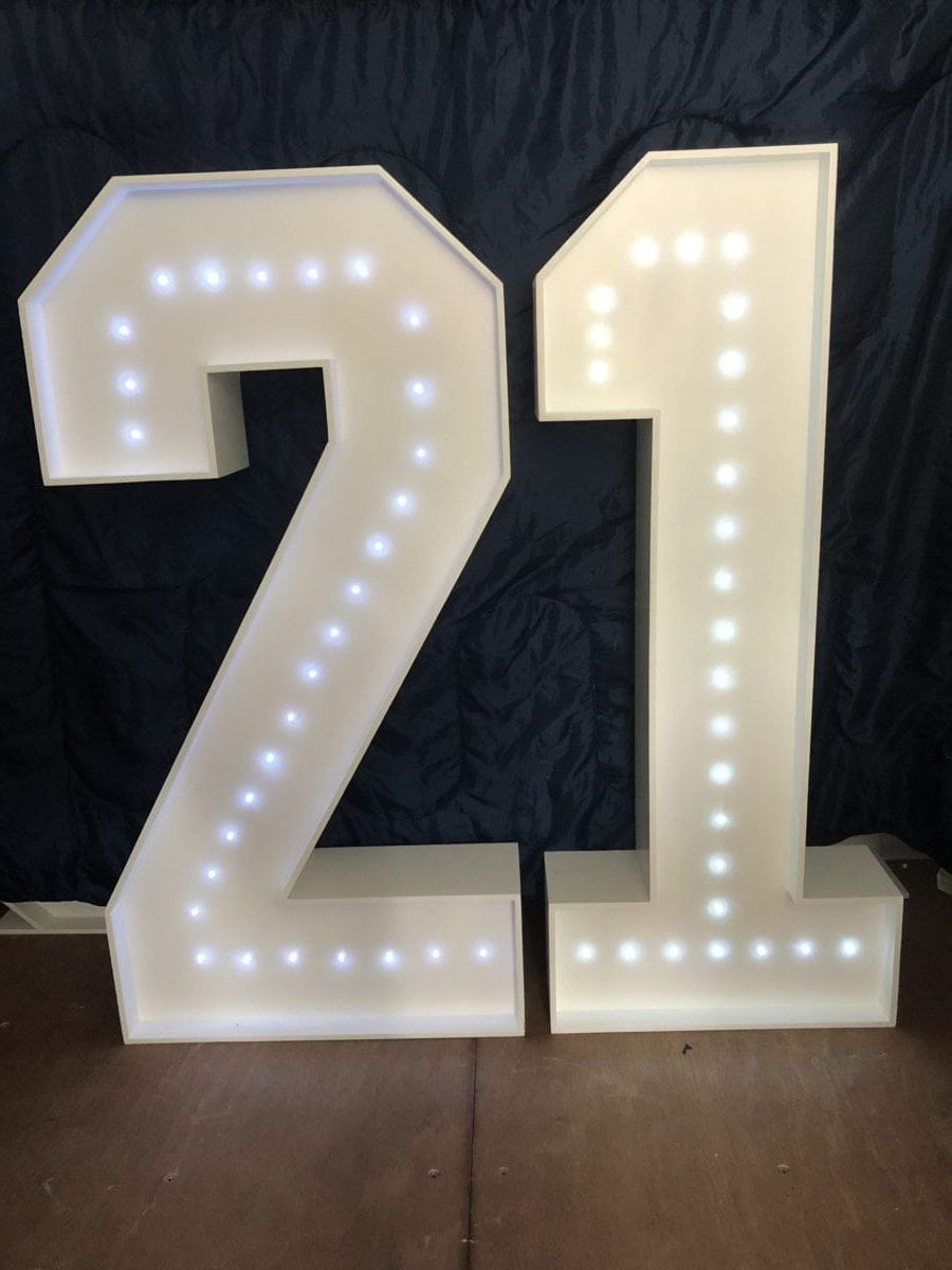 "The number ""21"" in 4ft tall giant letters."