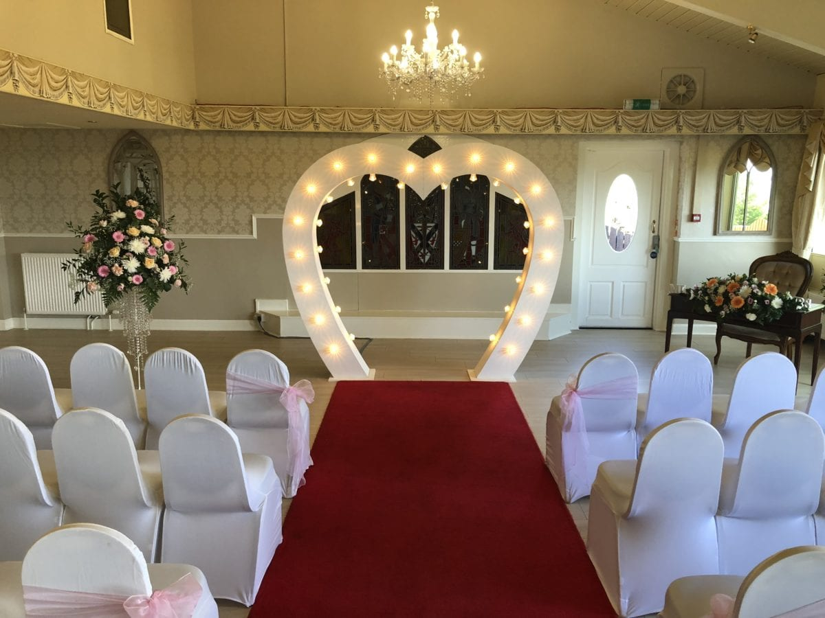 7ft tall heart arch at a wedding ceremony in The Three Kings just outside Falkirk.