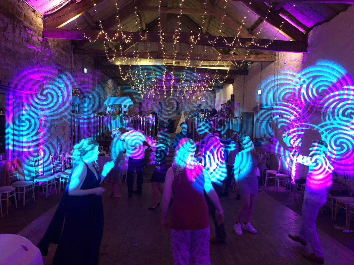My disco and mood lighting at a wedding in Askham Hall.