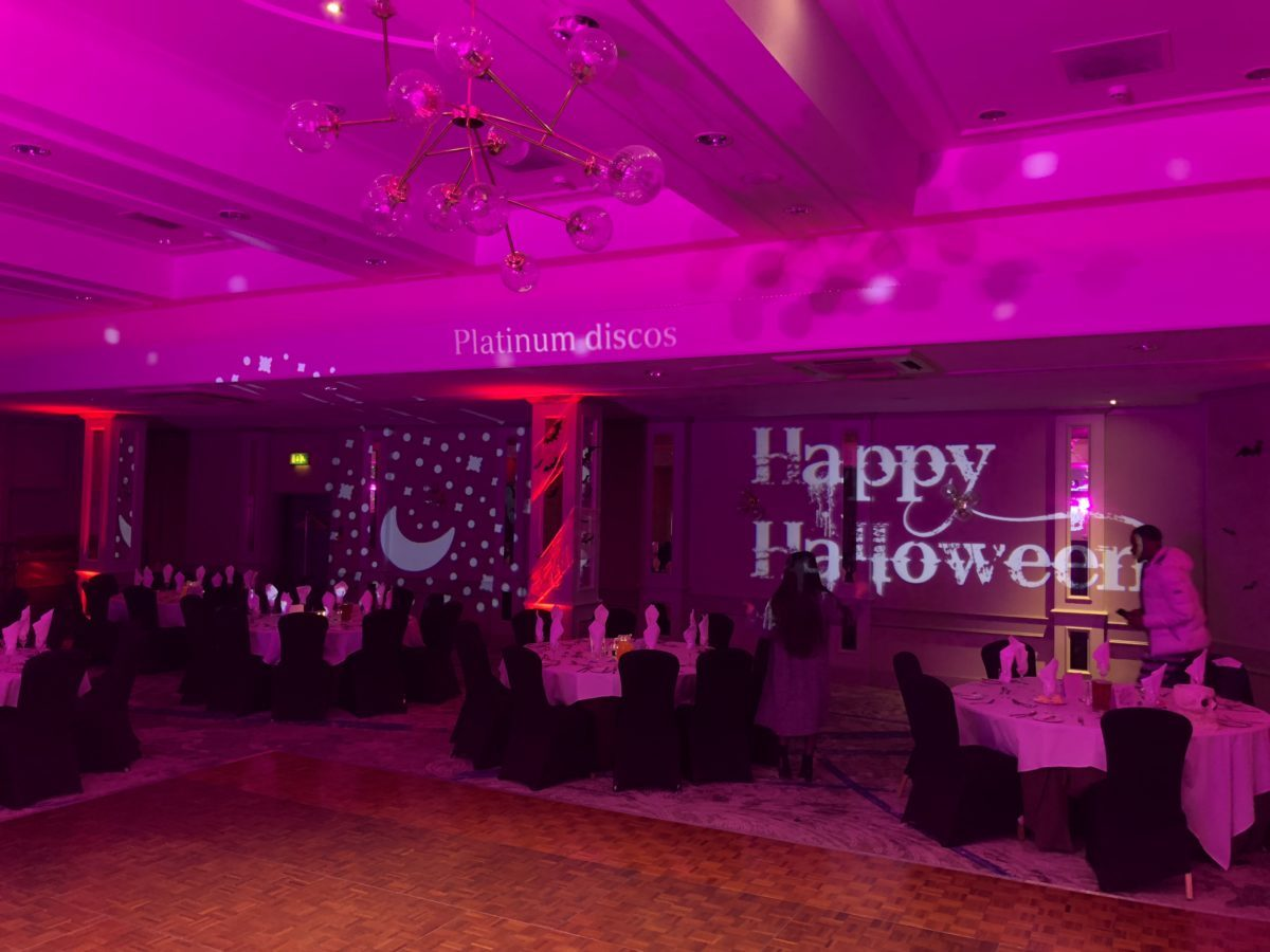 Happy Halloween Gobo at my mobile disco at The Hilton Grosvenor in Glasgow.