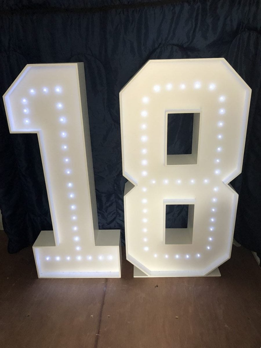 "The number ""18"" in 4ft tall giant letters."