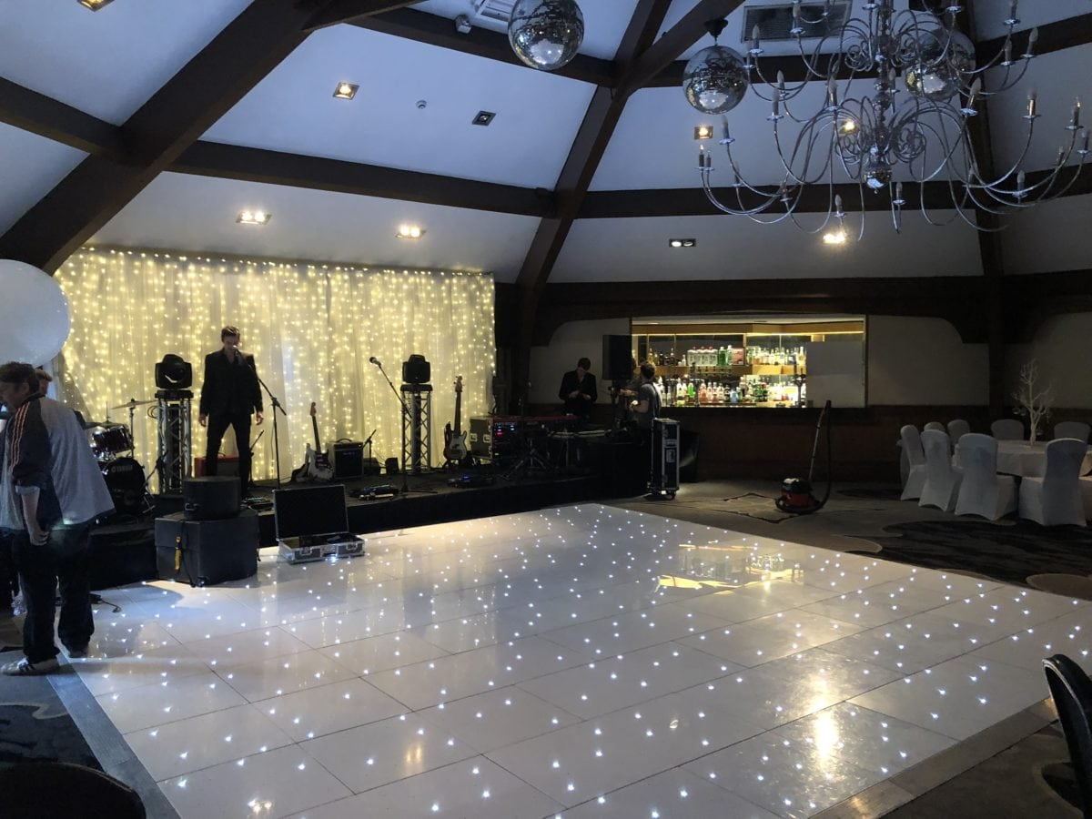 My stunning 20ft by 20ft white LED dance floor at Airth Castle.