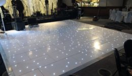 My stunning 20ft by 20ft white LED dance floor hire at Airth Castle.