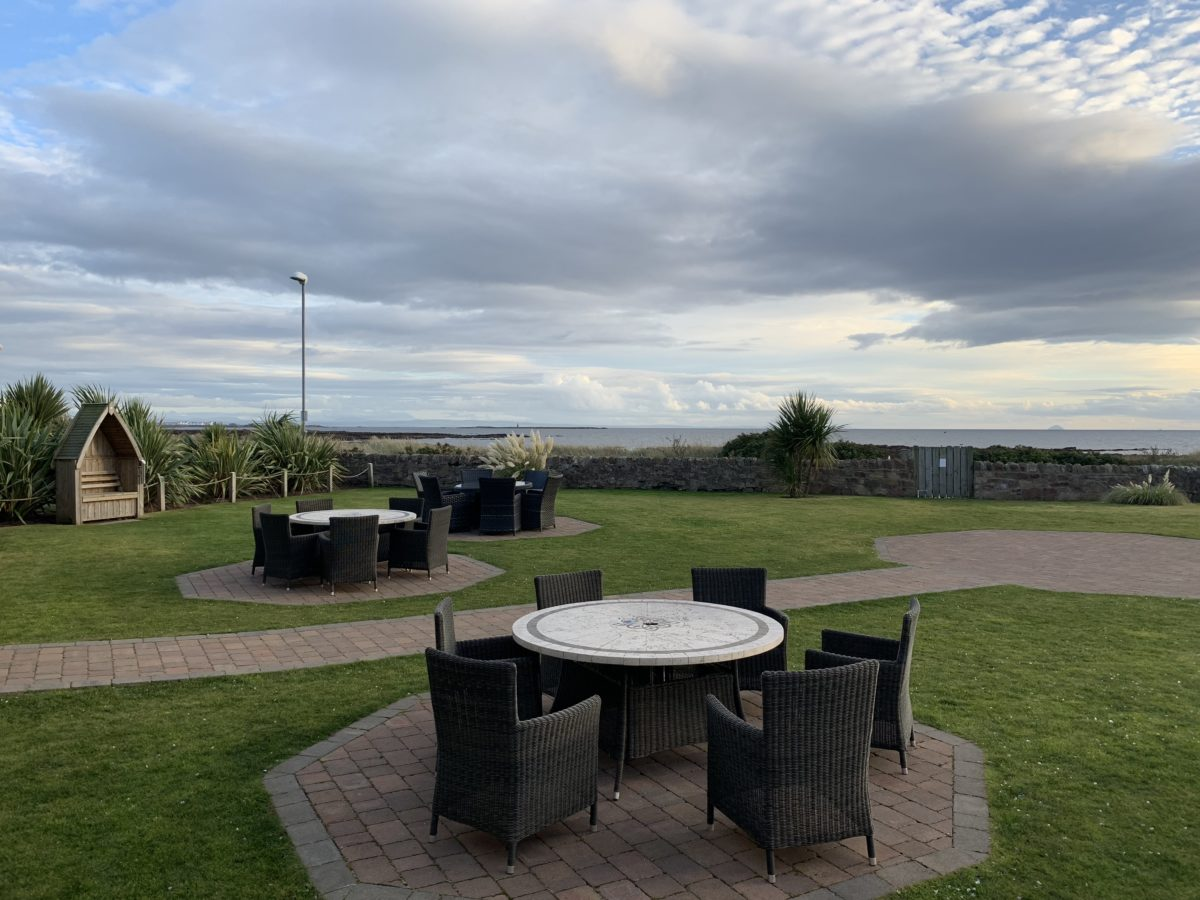Lovely gardens and view at The Waterside Hotel, West Kilbride.