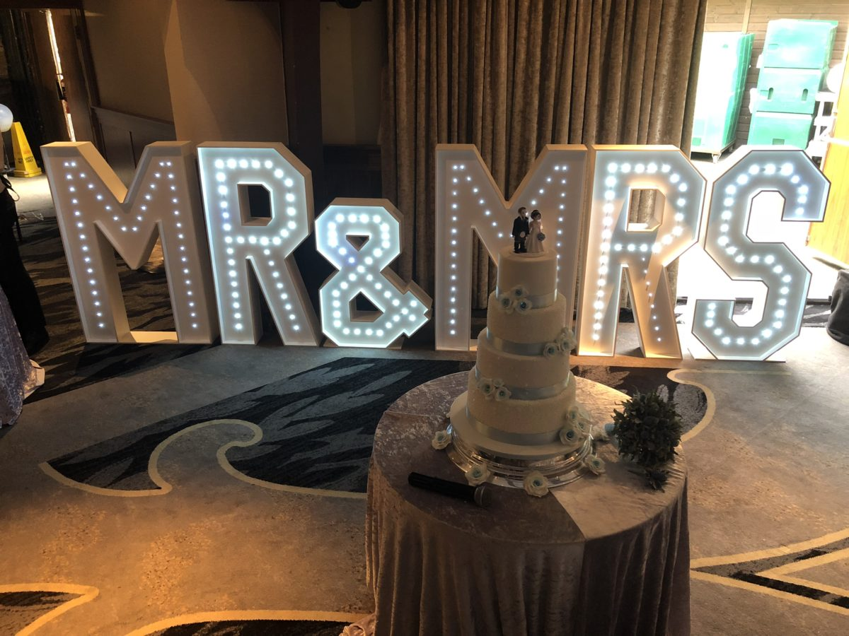 My 4ft tall Mr & Mrs giant letters at Airth Castle.