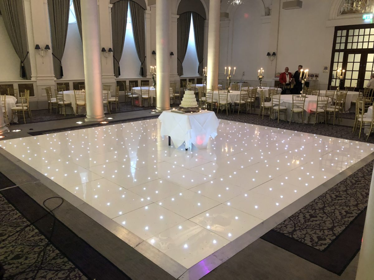 Led dance floor hire at a wedding at The Principal George Hotel Edinburgh. You could hire one like this for your wedding in Gretna Green.