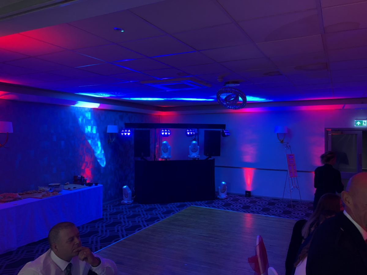 Disco and mood lighting at Gretna Hall Hotel. You could add dance floor hire to this package easily.