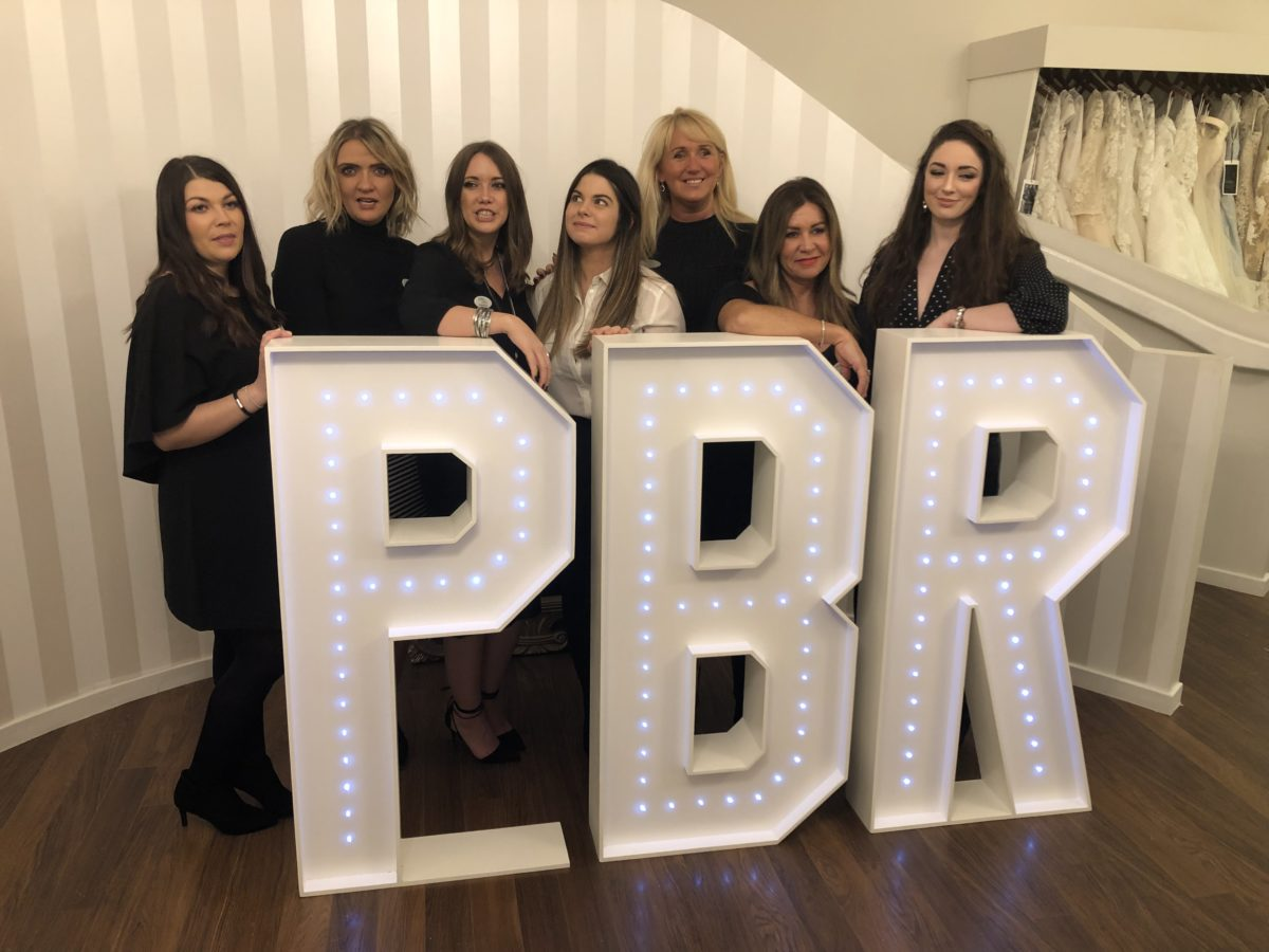 The models and staff at PBR. Giant letter hire Aberdeen, Scotland.