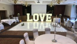Dance floor hire and giant letter hire at Norton House Hotel.
