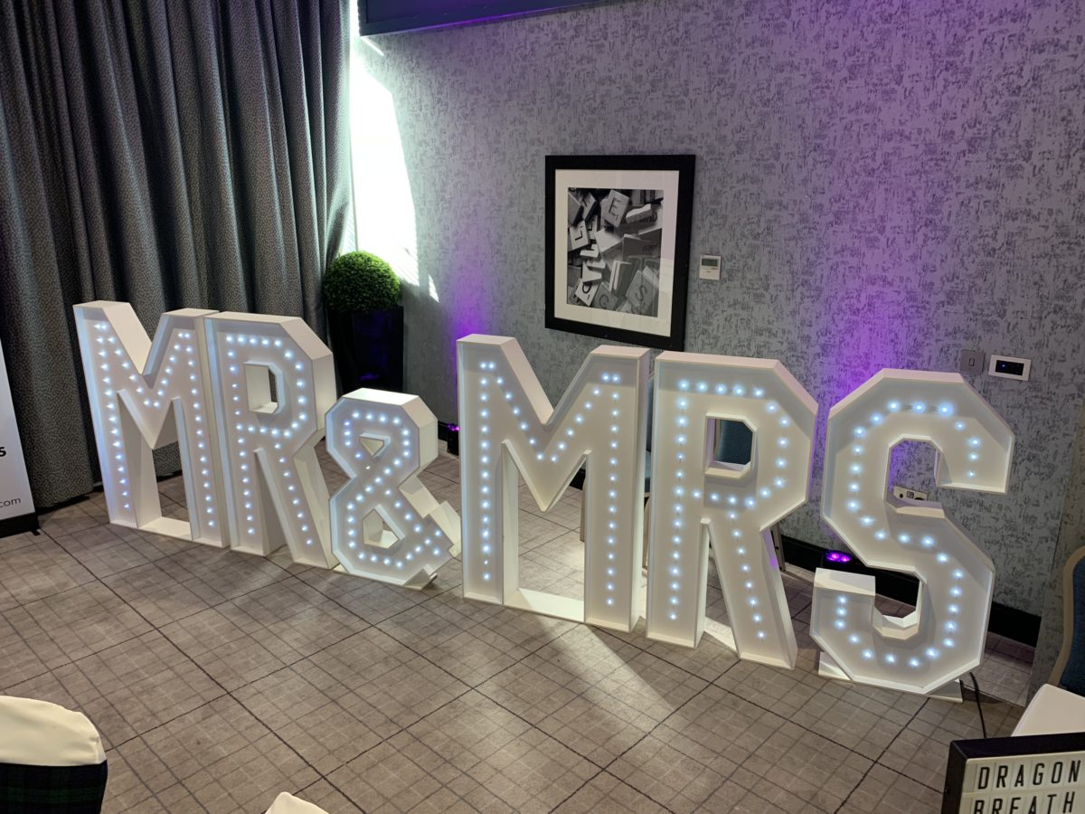 Giant letters. You could hire these for your wedding at Gretna Green. This is included in my wedding special offer.