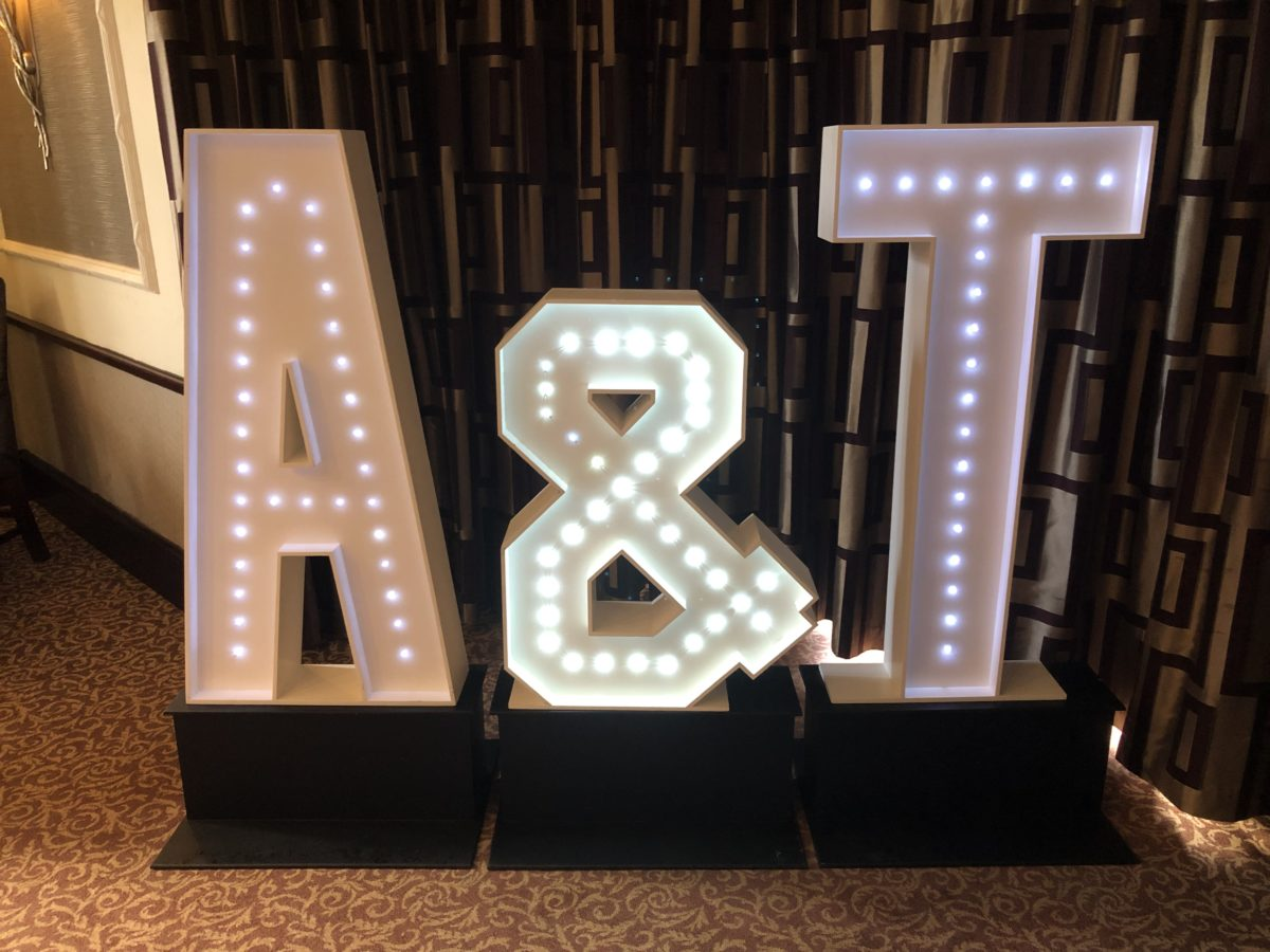 4ft tall giant letters with your initials for your wedding.