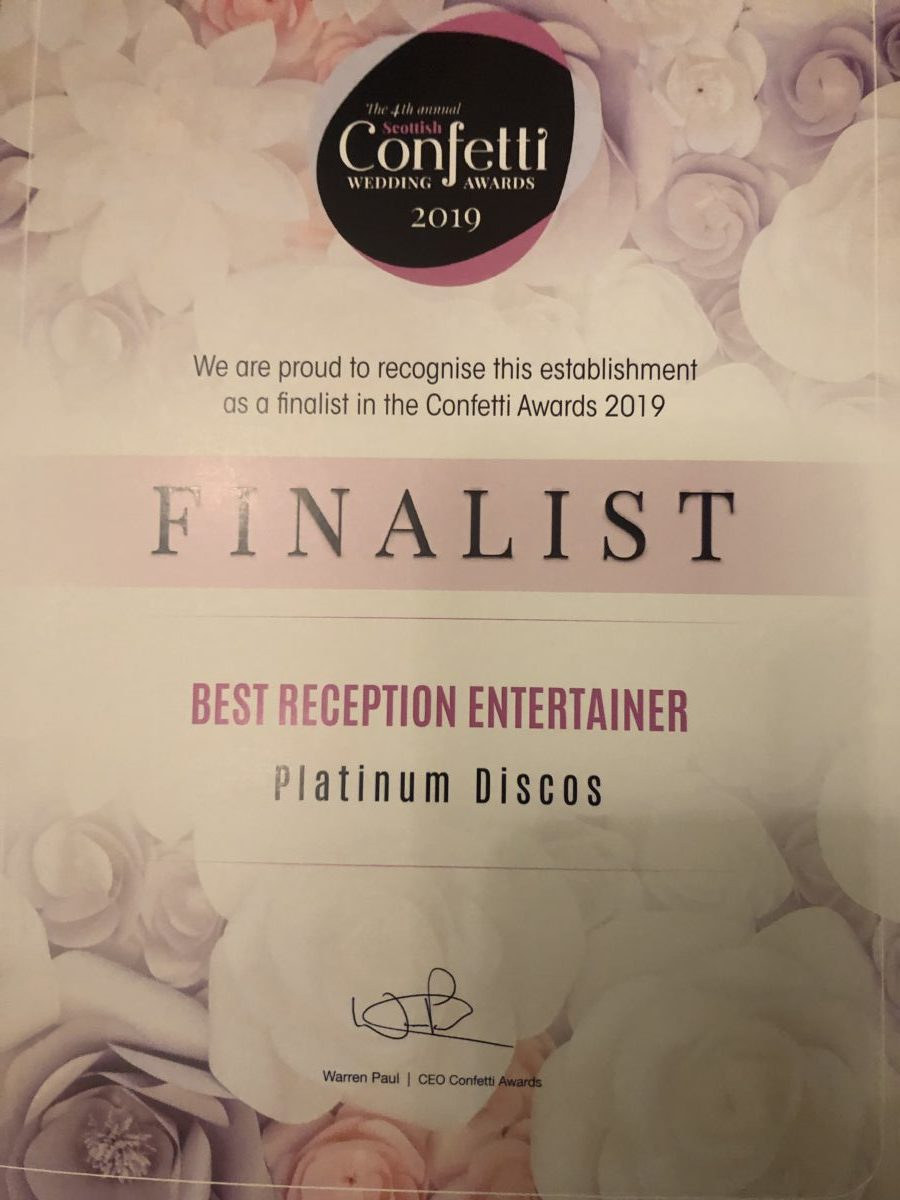 Confetti wedding entertainment award finalist 2019.