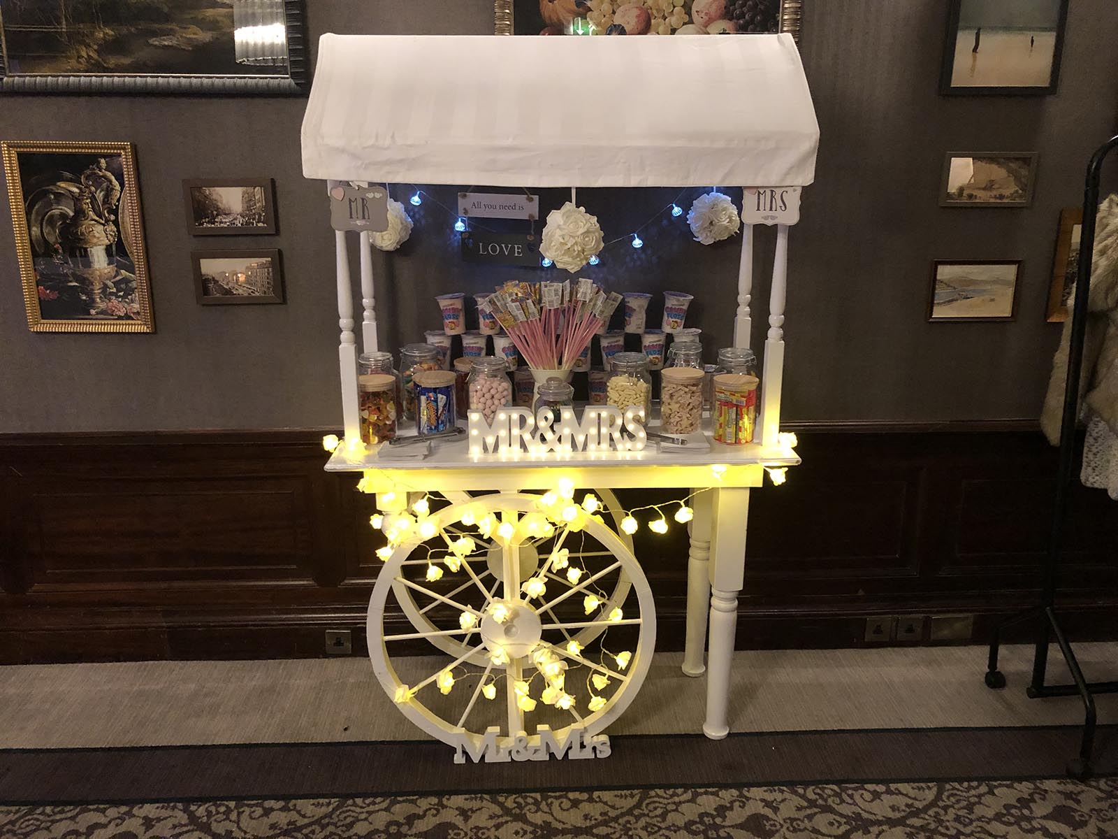 Platinum Discos Candy Cart at The Principal George Hotel Edinburgh for a wedding.