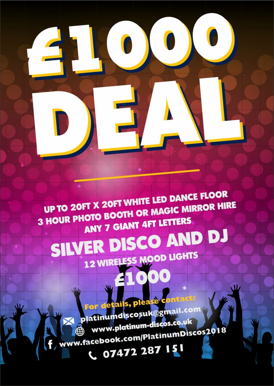 The £1,000 wedding entertainment and wedding decor deal just got better with 7 giant letters or giant numbers and led dance floor hire increased to 20ft and includes a top class wedding Dj. Mobile disco hire.