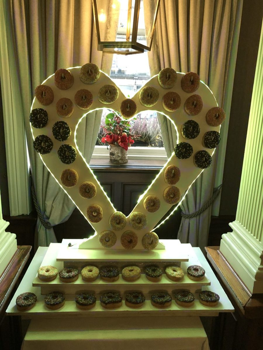 Doughnut wall at a wedding at The Principal George Hotel in Edinburgh. Part of our wedding decor package.