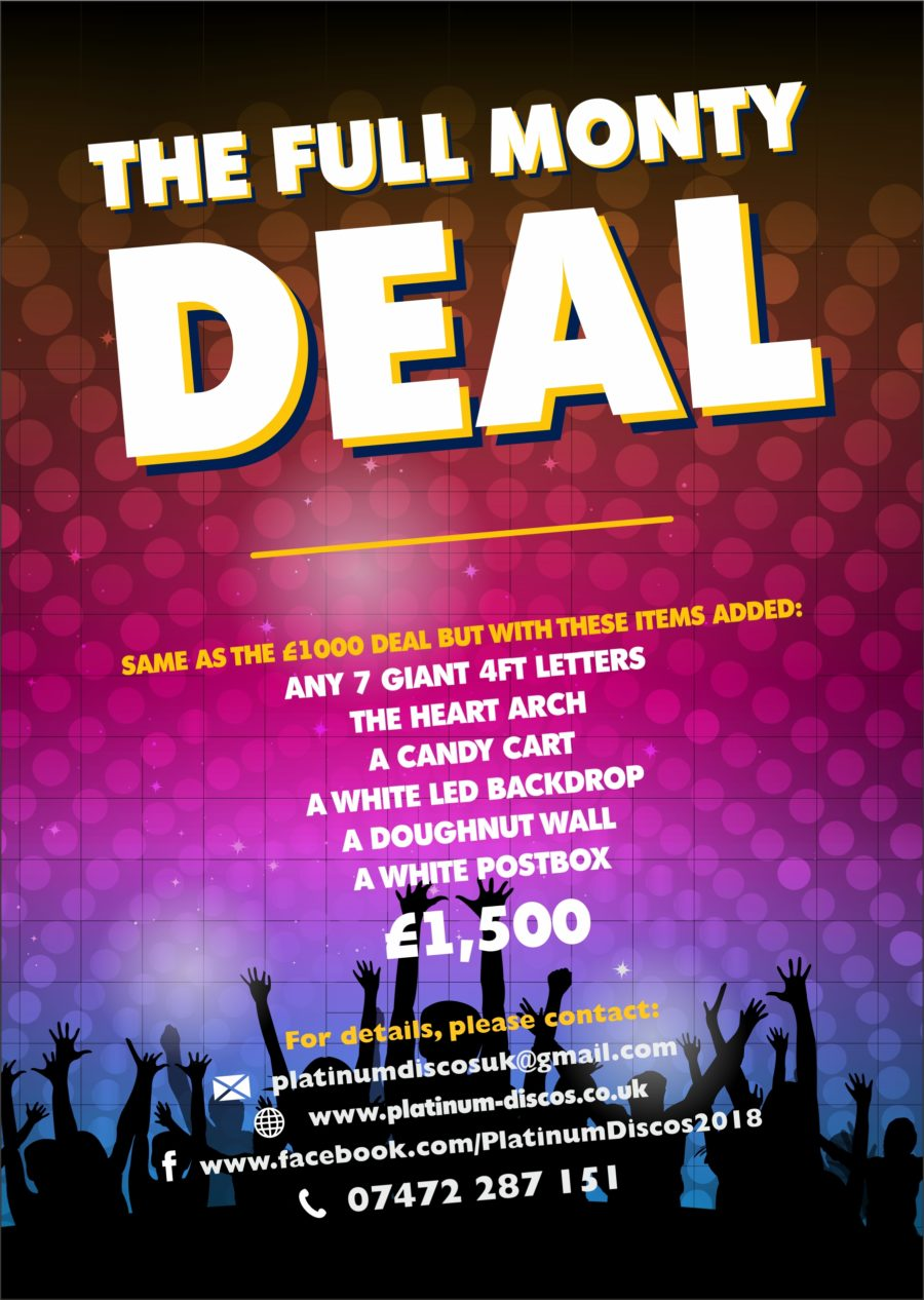 The Full Monty Deal which includes dance floor hire from the £1,000 deal plus all these extras!