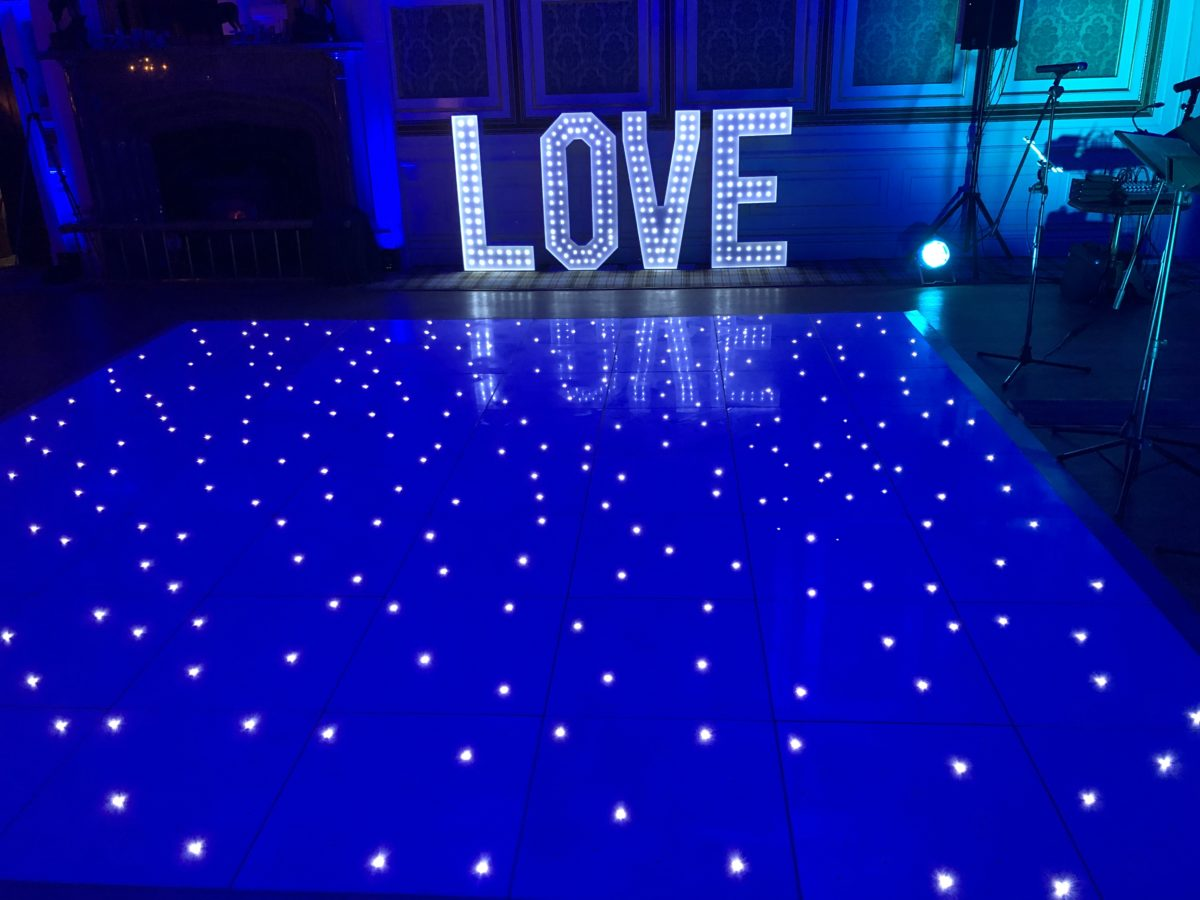 My mood lighting, led dance floor hire, giant letters and wash lighting at Drumtochty Castle as part of the amazing wedding special offer!
