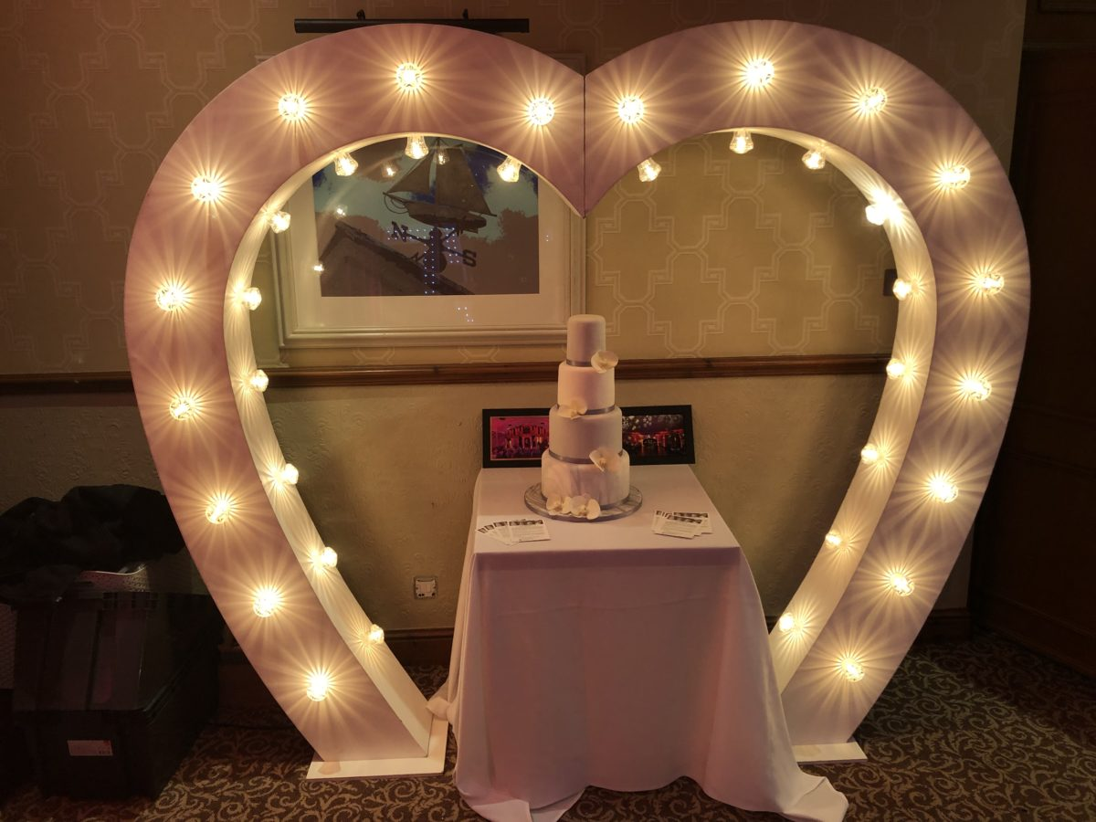 7ft heart arch. Part of our giant letter and number range and in our wedding decor package deal. A great addition to any mobile disco hire.