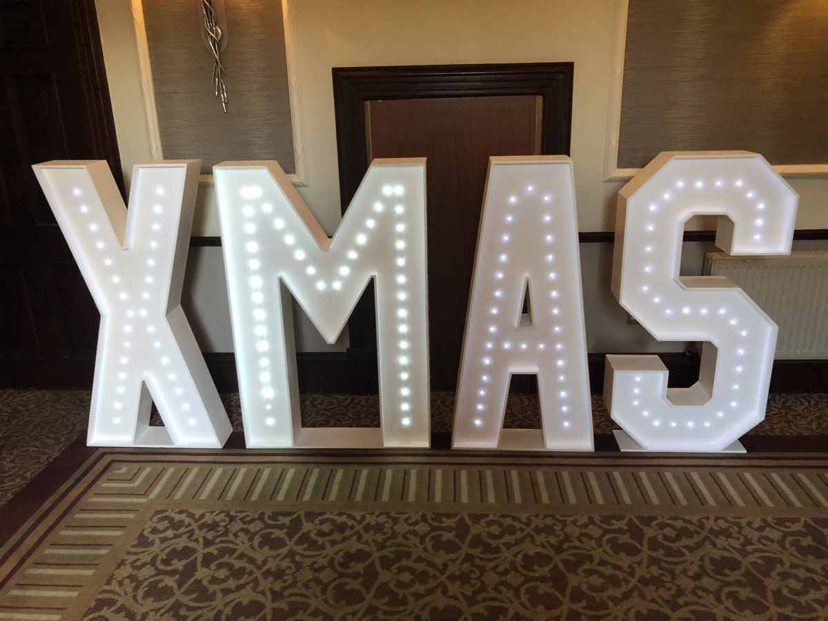 Christmas in giant letters.