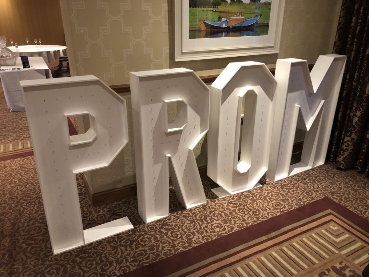 "My 4ft tall giant letters spelling ""PROM"". Photo taken at The Inchyra Hotel near Falkirk. Part of our wedding and party decor range."
